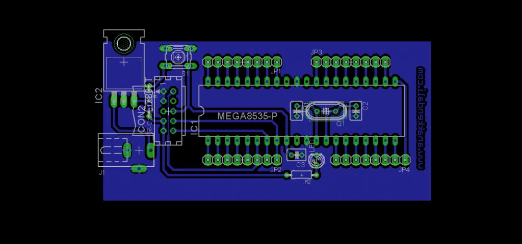 Sistem Minimum Atmega16/Atmega32 Design Skematik PCB Layout