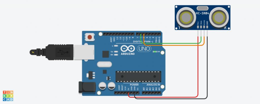 Tinkercad Simulasi Arduino Mengakses Sensor Ultrasonik SRF-04