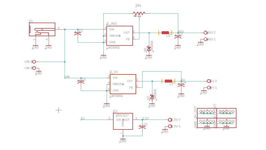 Download Desain PCB Eagle DC-DC Konverter Step-Down Multiple OUTPUT LM2596