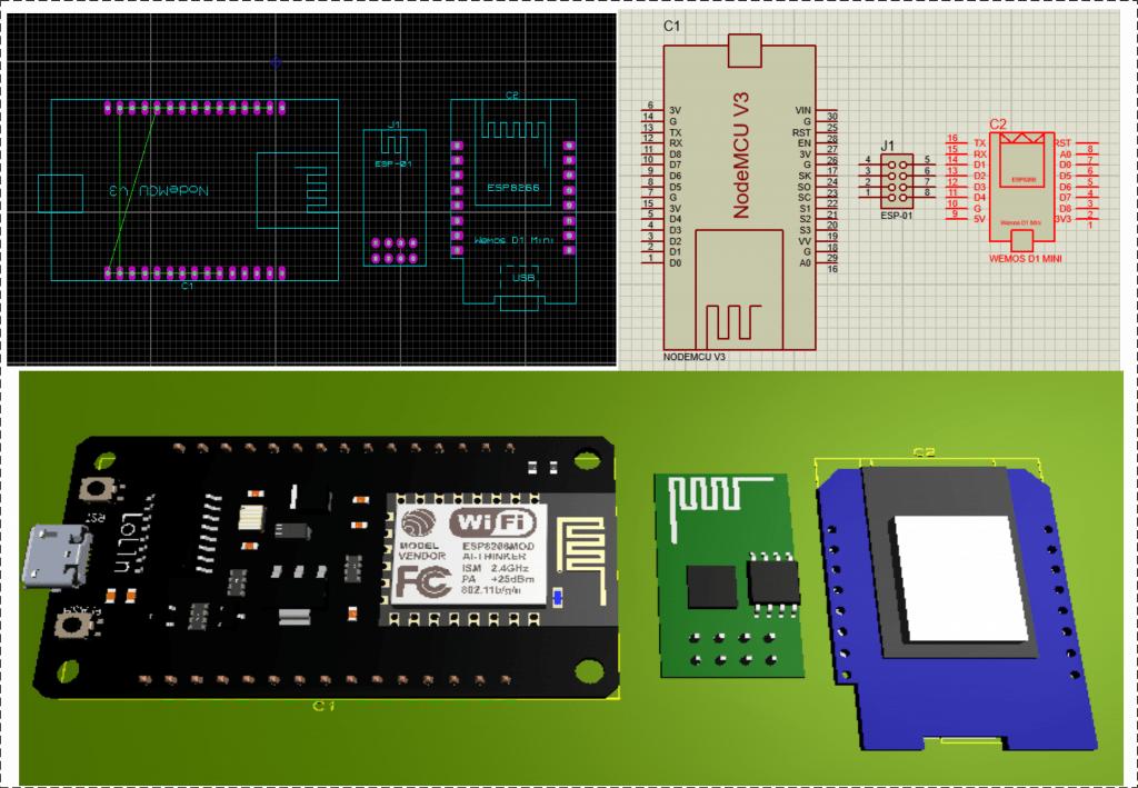 Download Library ESP8266 NodeMCU/ESP-01/Wemos D1 Mini proteus 8