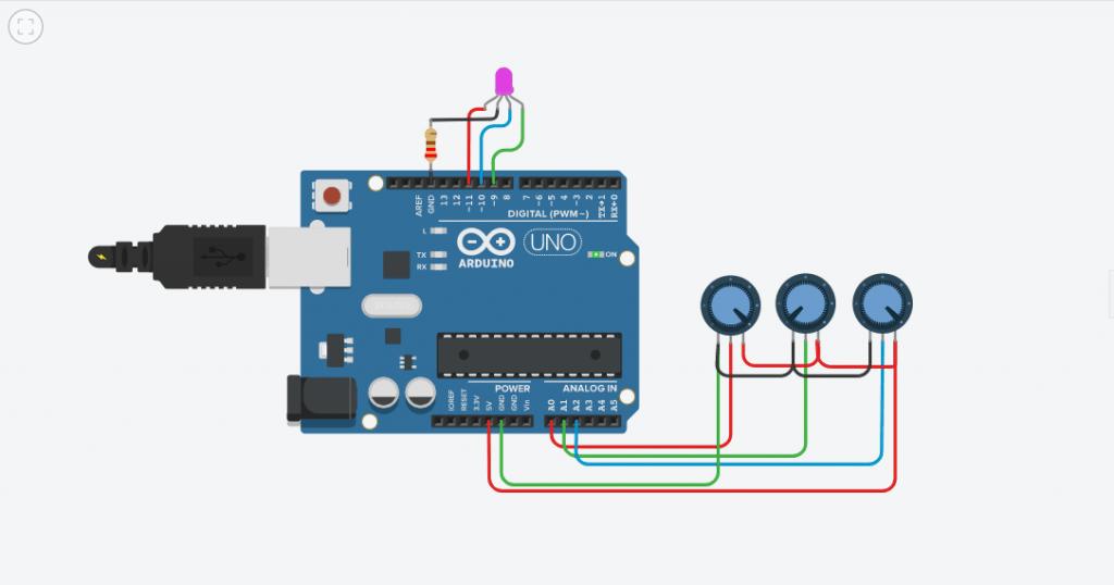 Belajar Arduino Mengakses Led RGB Potensiometer Simulasi Tinkercad