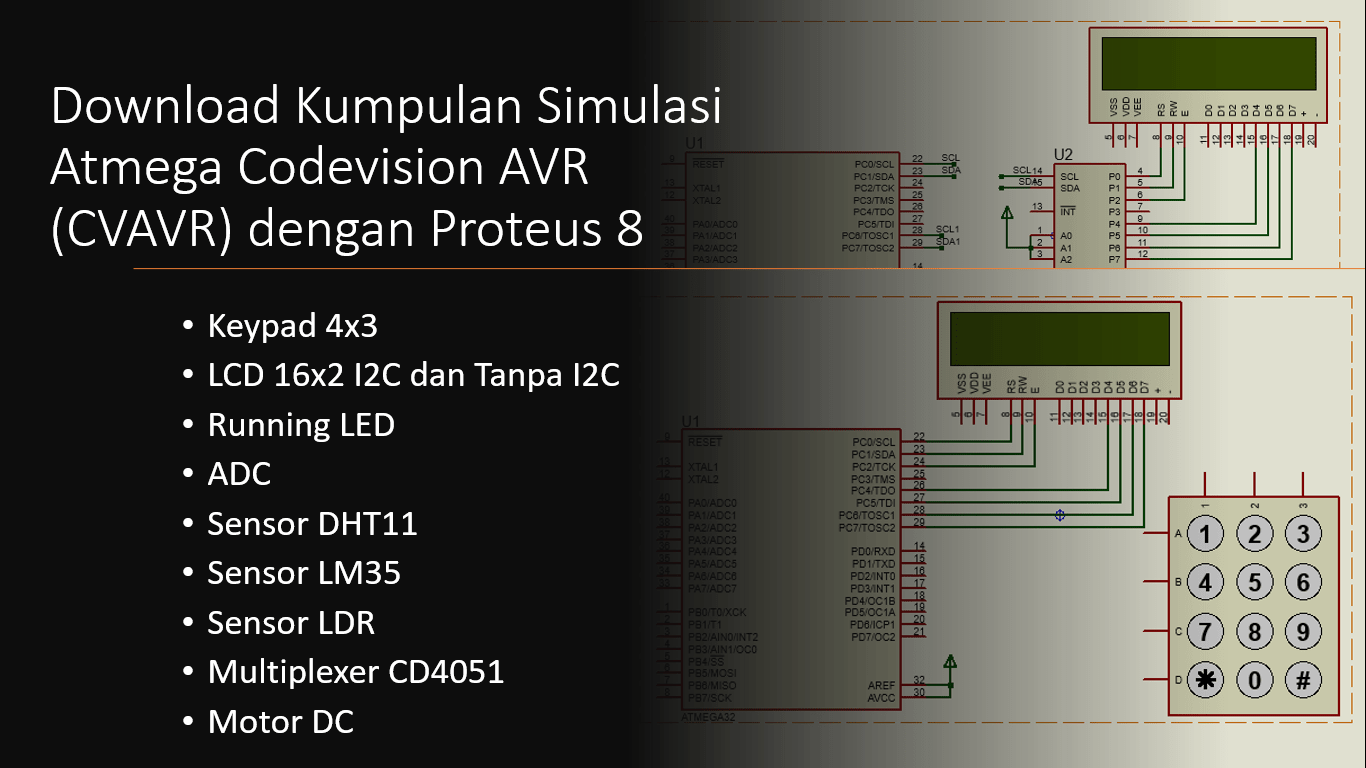 Simulasi CVAVR Atmega16/Atmega32 Proteus 8