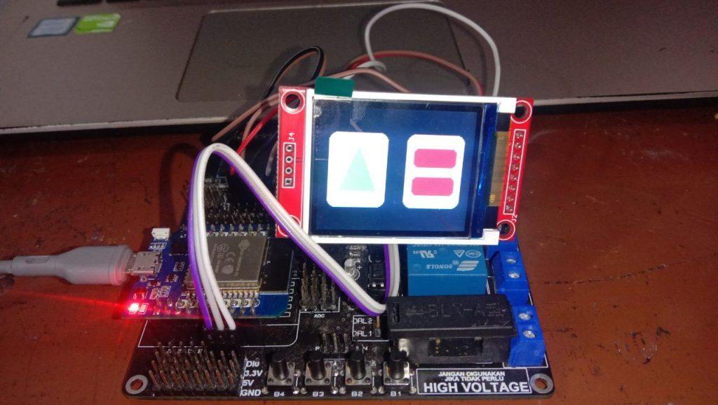 Gambar LCD TFT 1.8 dan ESP32