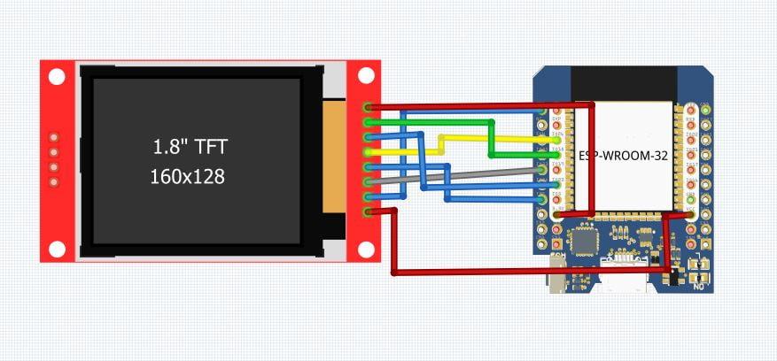 Rangkaian Pinout LCD TFT 1.8 dan ESP32