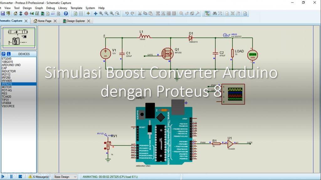Tutorial Arduino Boost Converter Simulasi Proteus 8